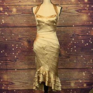Karen Millen Gold Ruffle Hem Halter Dress Size 6